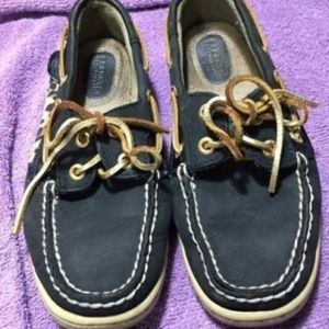Sperry Top Sider Boat Black Leopard Print 5.5